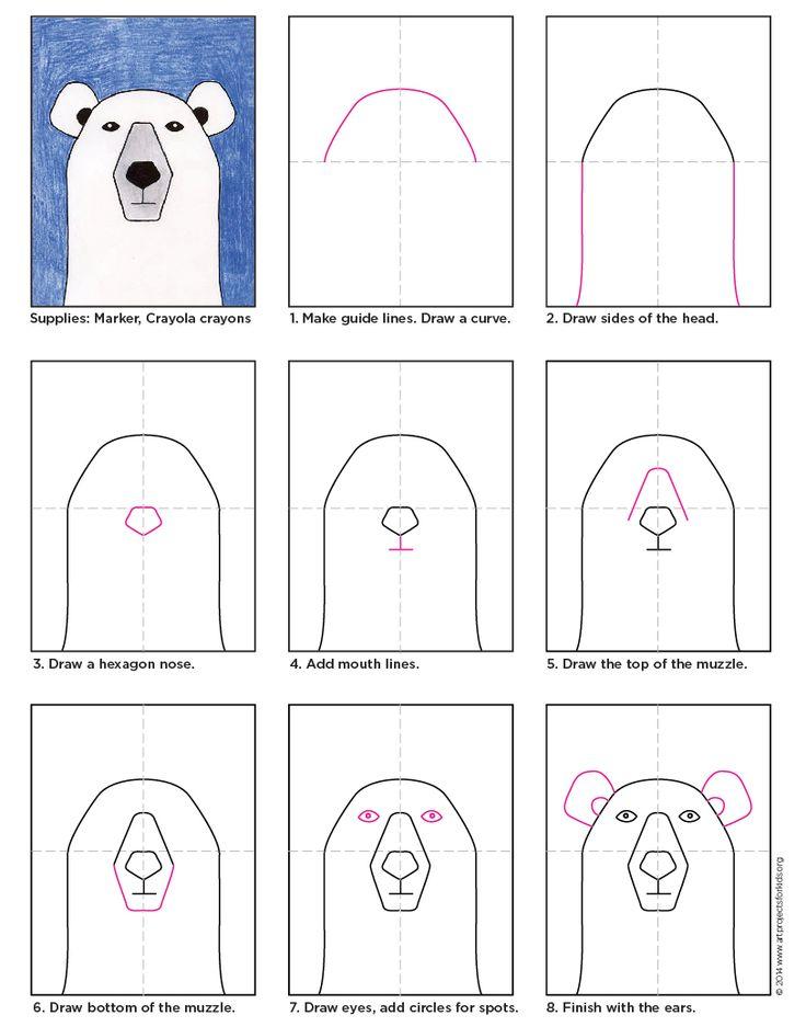Drawn polar  bear line drawing Bear on drawing Pinterest ideas