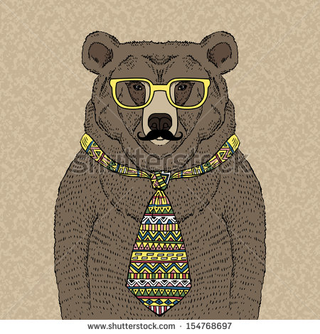 Drawn spectacles hipster Bear vector Illustration Tie Glasses