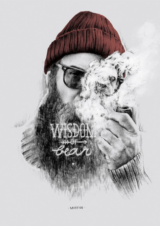 Drawn beard fake Widsom beard con Estampas smoking