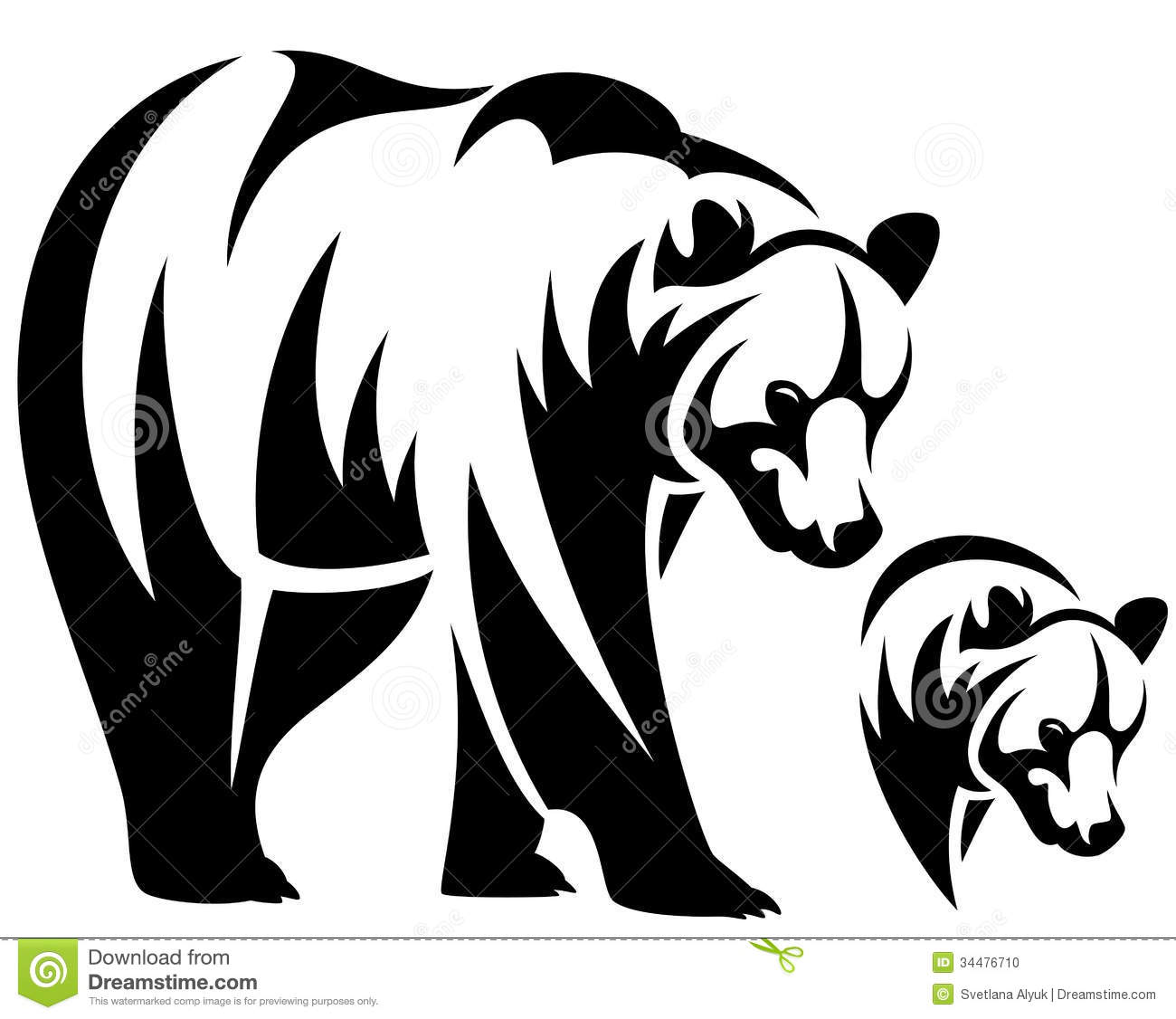 Grizzly Bear clipart outline #2