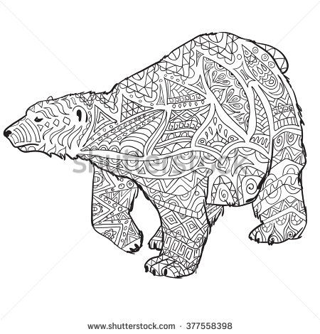 Drawn polar  bear color Coloring zentangle with drawn hand