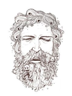Drawn beard artistic Black The hipster art of
