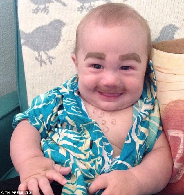 Drawn beard baby Shirt Hawaiian babies snap on