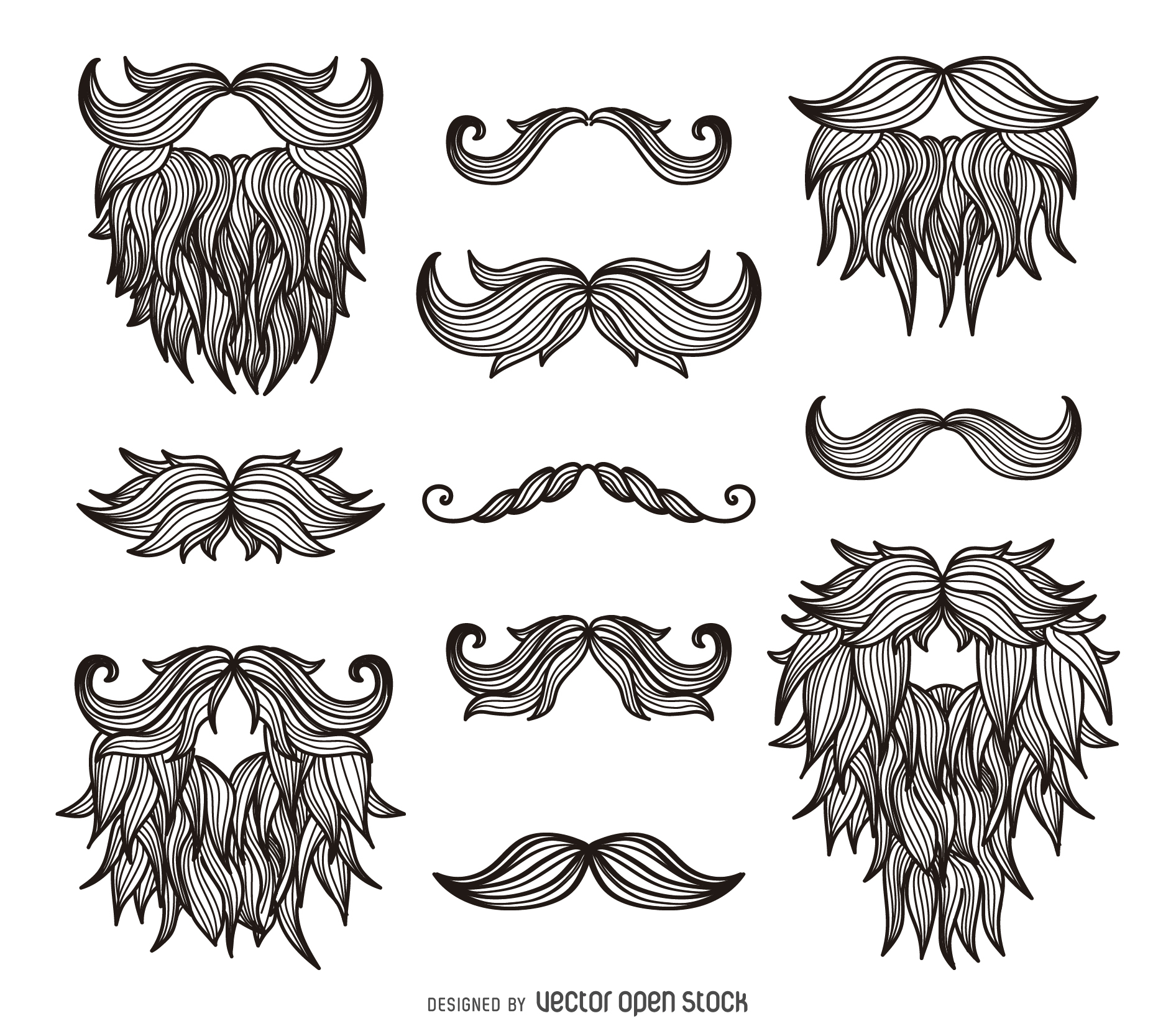 Drawn beard curly Hipster beards Hipster drawn moustaches
