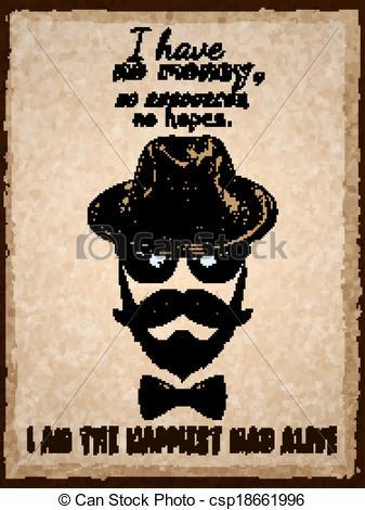Drawn beard graphic EPS poster  glasses print