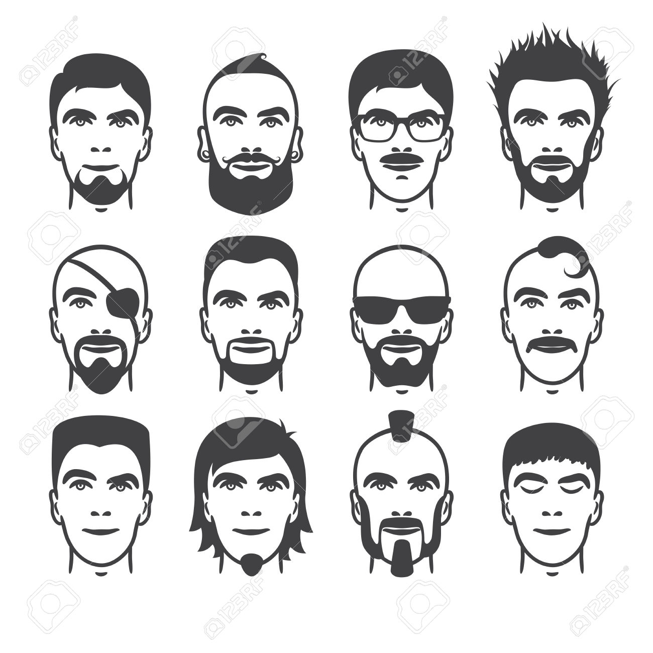 Beard clipart hairstyle transparent male #8