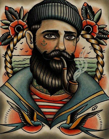 Drawn beard sailor #7