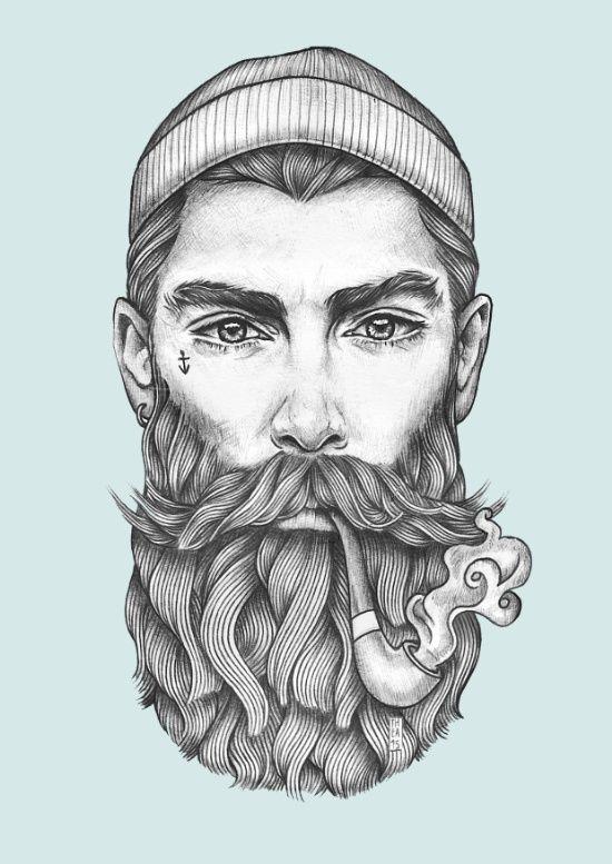 Drawn beard sailor Art illustration ideas Best Print