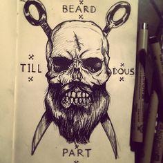 Drawn beard skull Sketch  skull with captains