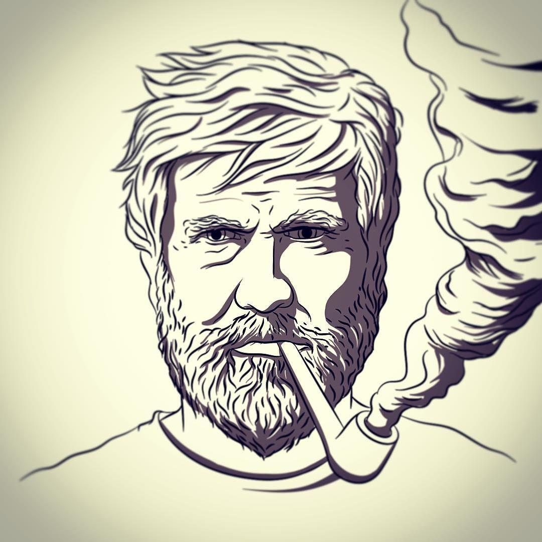 Drawn beard smoking pipe #illustration #drawing #illustration  #drawing