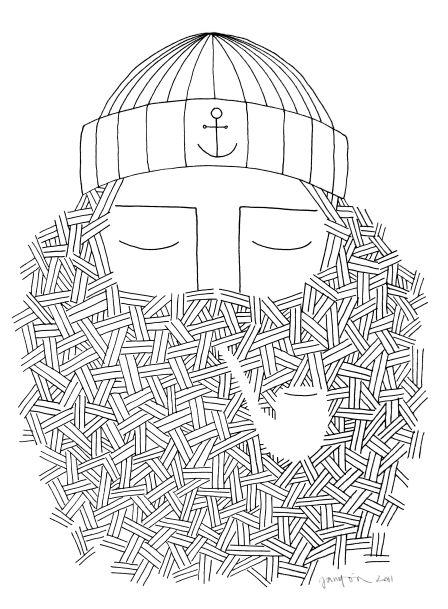Drawn beard smoking pipe Pin Tobacco 1105 on best