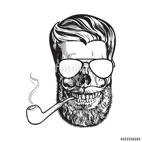 Drawn beard smoking pipe With with black beard and