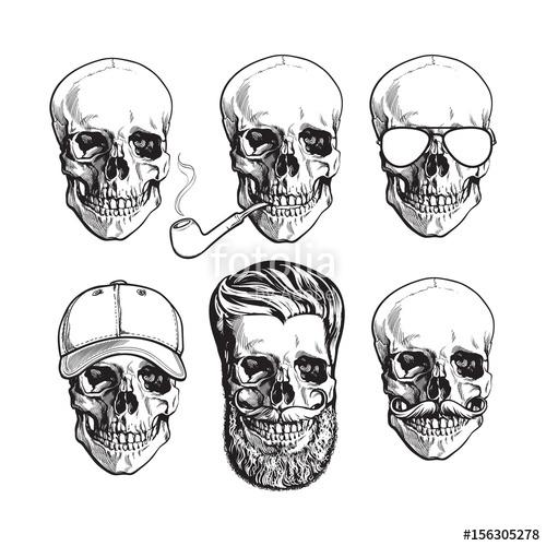 Drawn beard smoking pipe Human skull pipe with sketch