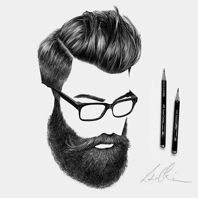 Drawn beard thick eyebrow By: Pinterest ARTIST APPRECIATION ⚔