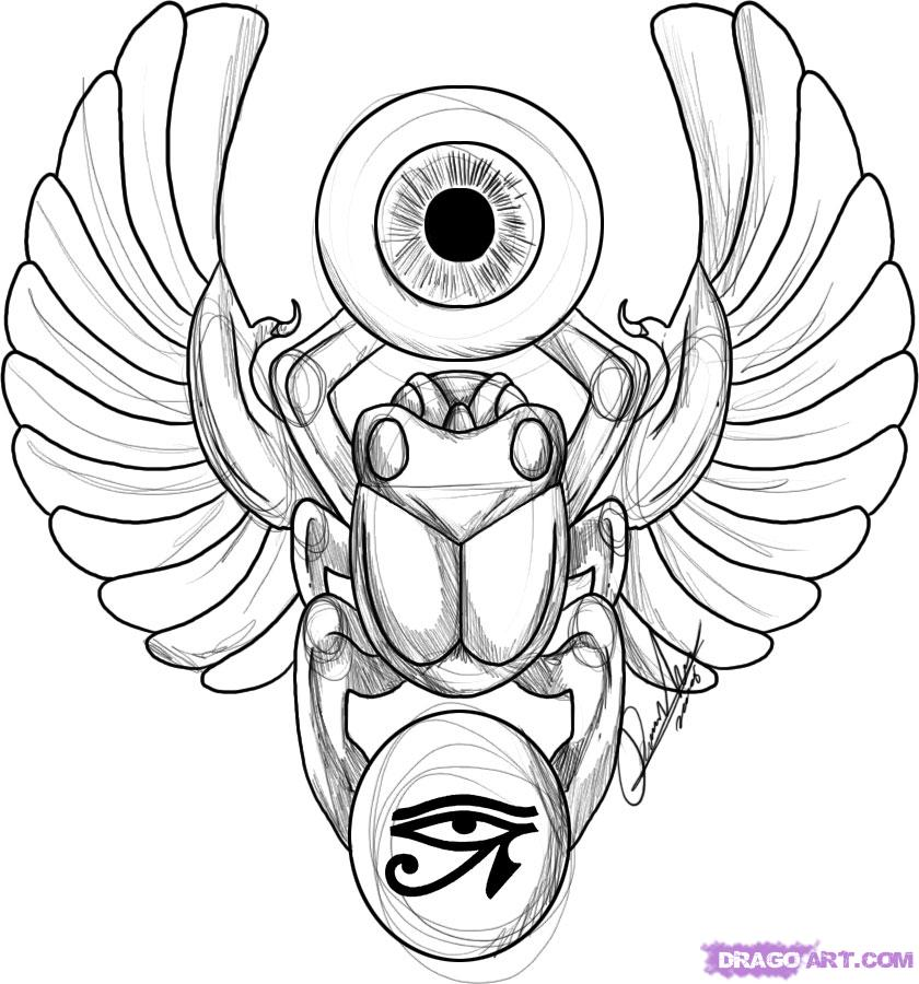 Drawn beatle egyptian #7
