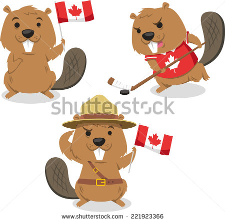 Beaver clipart canada day Playing ice beaver holding Canadian