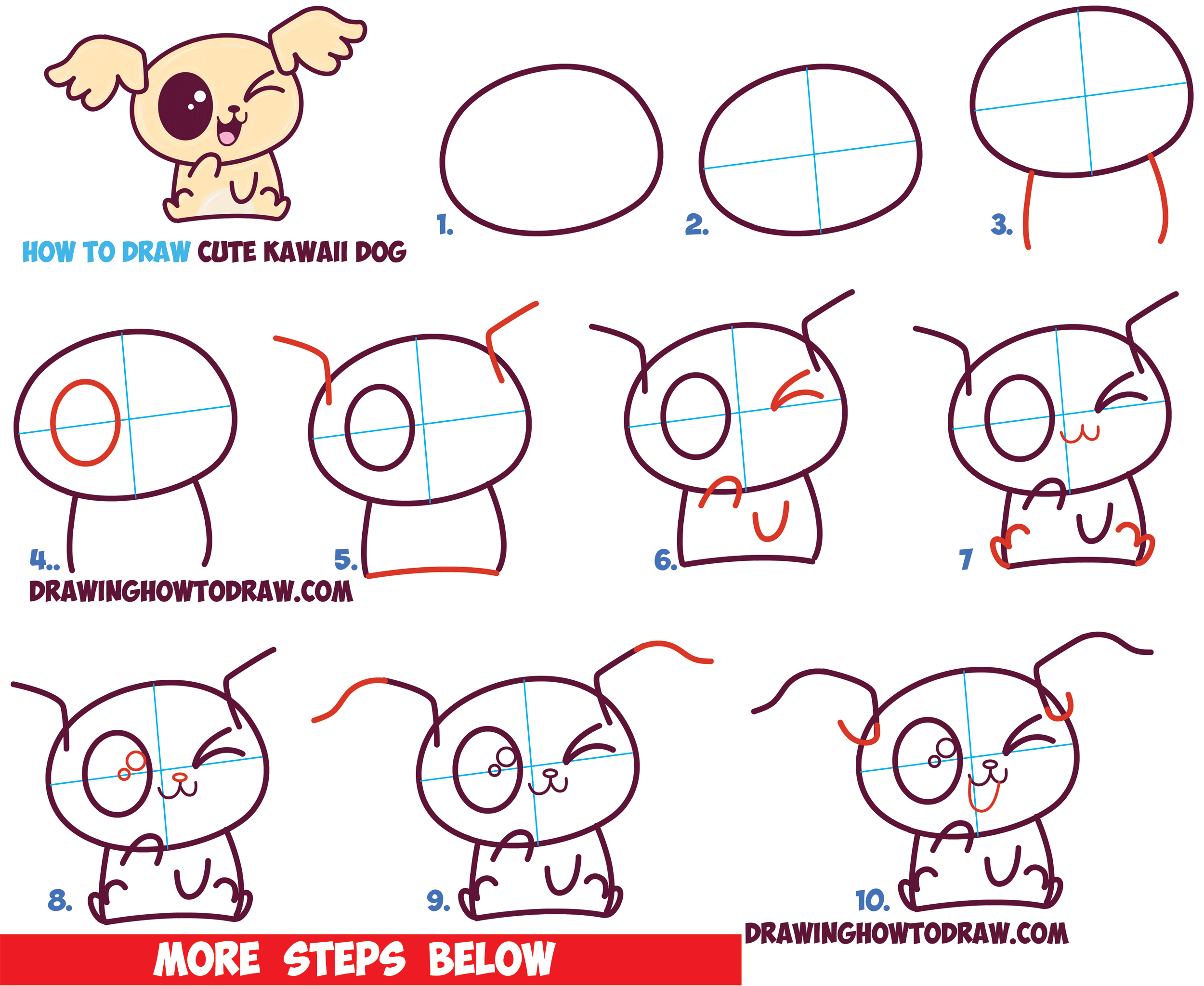 Drawn puppy kawaii Easy by Drawing Step with