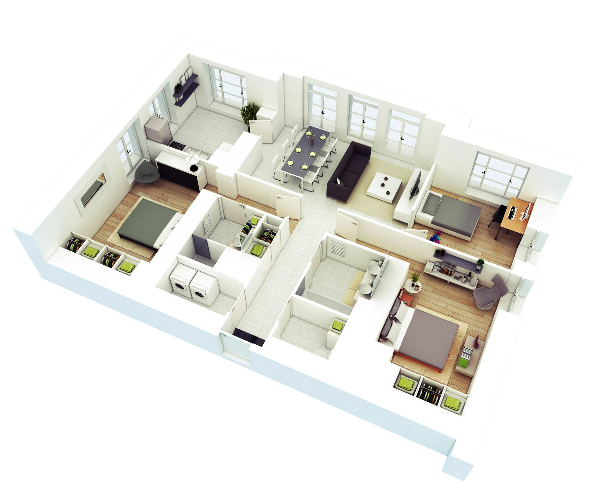 Drawn bedroom 3d classroom Plans Design Floor 3 &