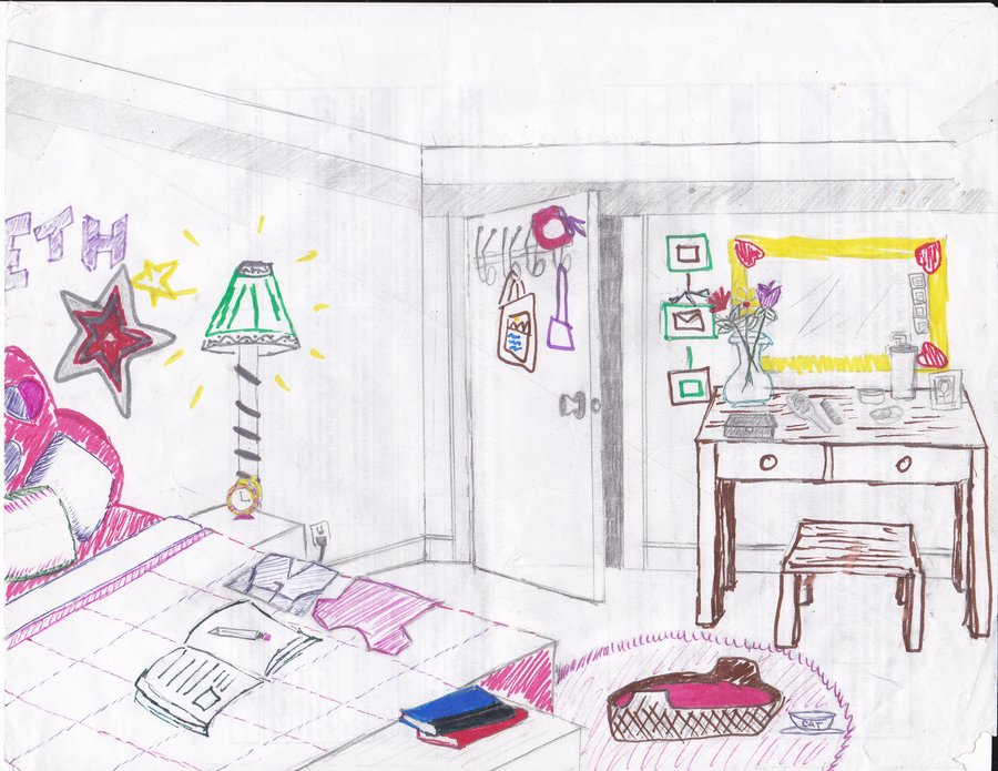 Drawn bedroom black and white First Drawn Bedroom on Bedroom