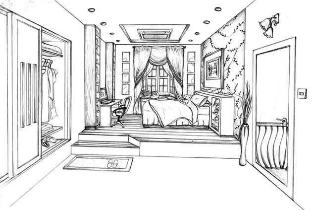 Drawn bedroom black and white Point Perspective Drawing: Guide perspective