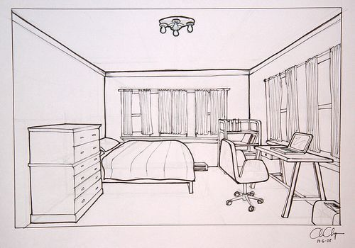 Drawn bedroom black and white Perspective drawing of Objective: your
