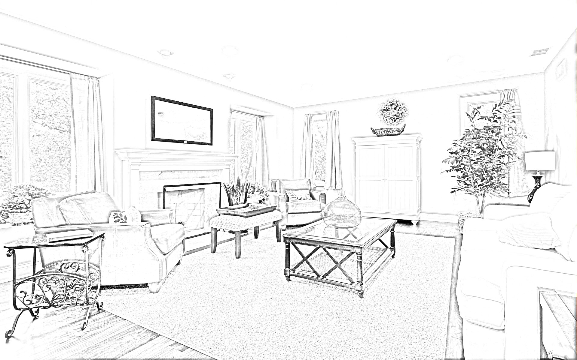 Drawn bedroom basic interior design Bedroom Drawing Cafeteria Bedroom On