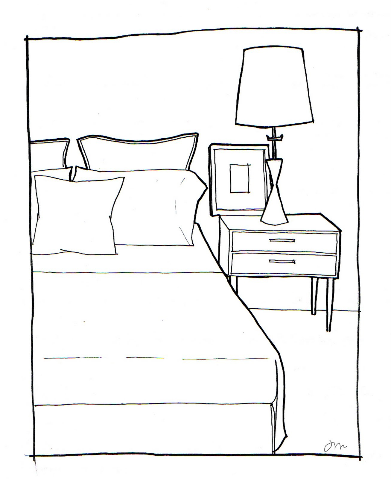 Drawn bedroom basic interior design #4