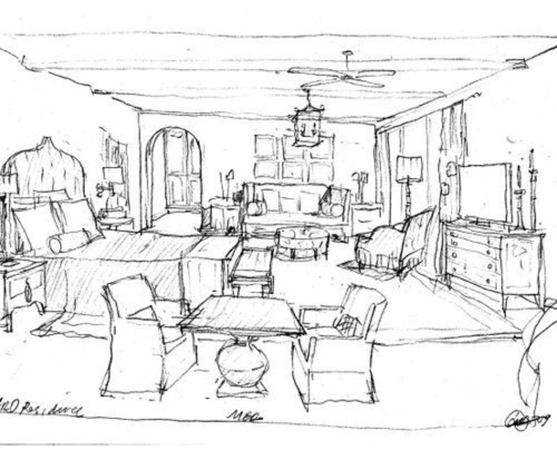 Drawn bedroom basic interior design #14