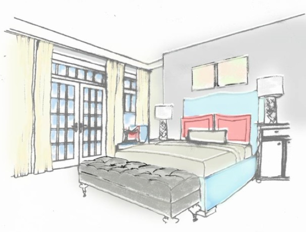 Drawn bedroom basic interior design Google perspective drawing Search drawing