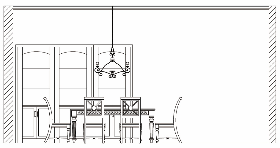 Drawn bedroom dining area Table / Novel Tripod Dining