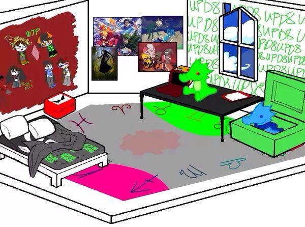 Drawn bedroom homestuck #2
