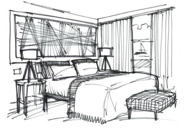 Drawn bedroom interior designer Sketches qsketch House design: Interior