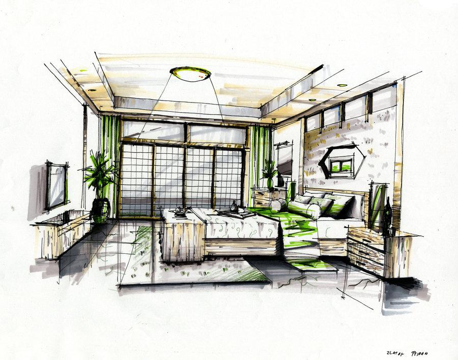 Drawn bedroom interior designer Perspective Models rendering bedroom Interior