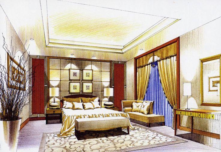 Drawn bedroom interior designer Sketch Bedroom interior  design