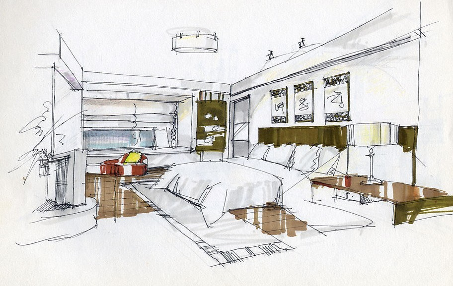 Drawn bedroom office interior #14
