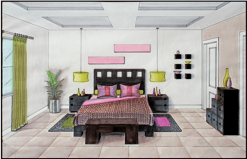 Drawn bedroom perspective Google party to draw point