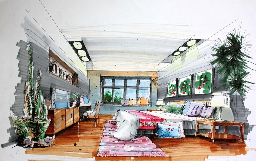 Drawn bedroom room design #7