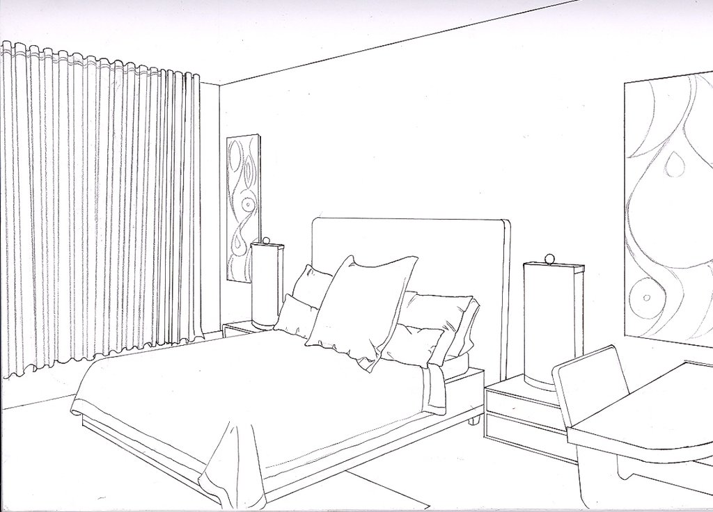 Drawn bedroom room design #10