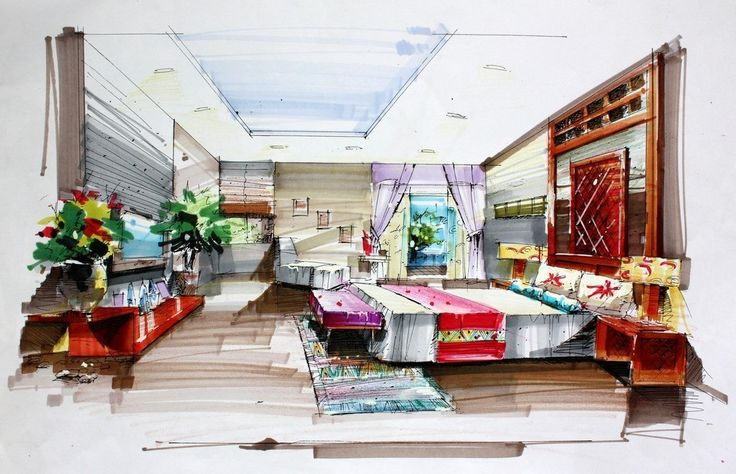 Drawn bedroom room design #9