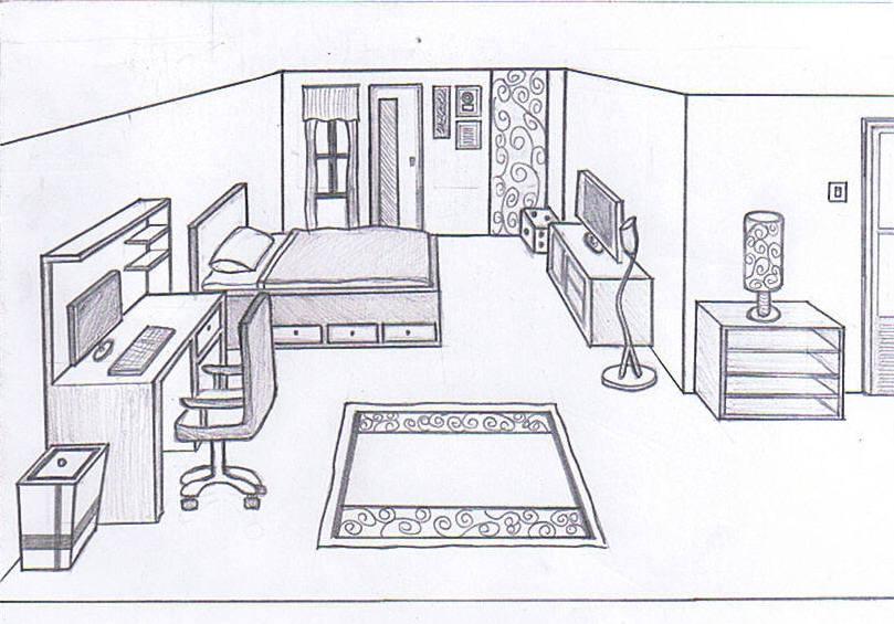 Drawn bedroom sketch plan Amusing Ideas Drawing Floor Nice