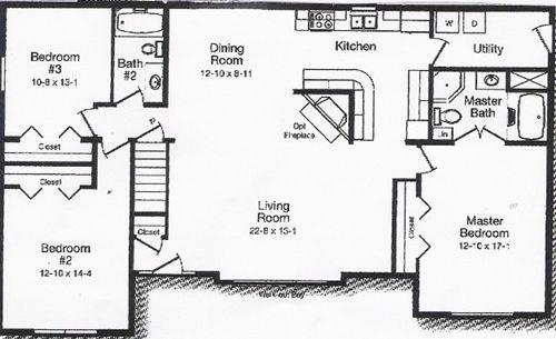 Drawn bedroom sketch plan Plan 3 Open Floor Plan