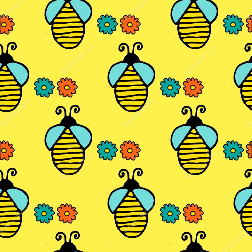 Drawn bees yellow #15