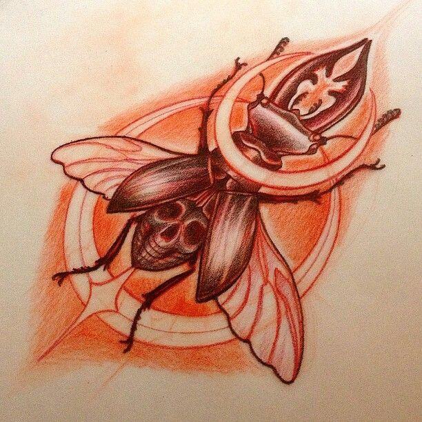 Drawn bug skull Images 1 Tattoo on beetle