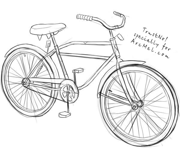 Drawn biker Draw Bicycling Step How to