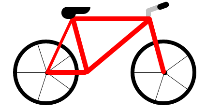 Drawn bike sketch LearningCSSAnimations bicycle CSS/HTML drawn