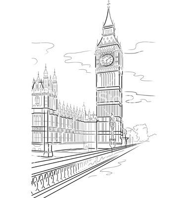 Drawn big ben vector  Play research Word Ben