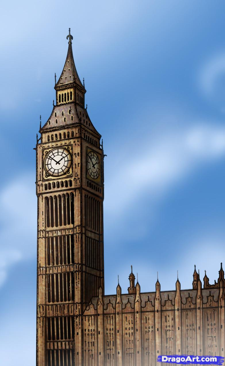 Drawn big ben vector Famous to by to Ben