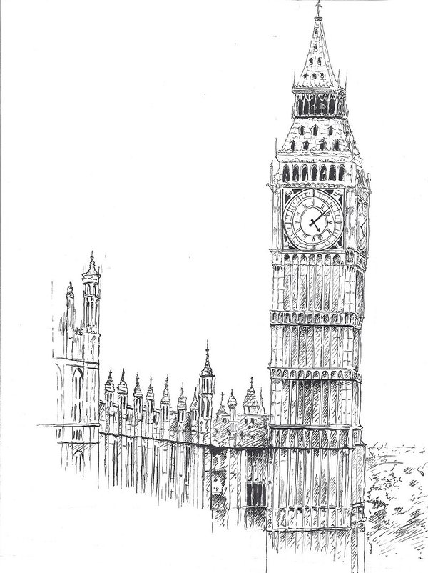 Drawn big ben telephone booth Google Search drawing Search ben