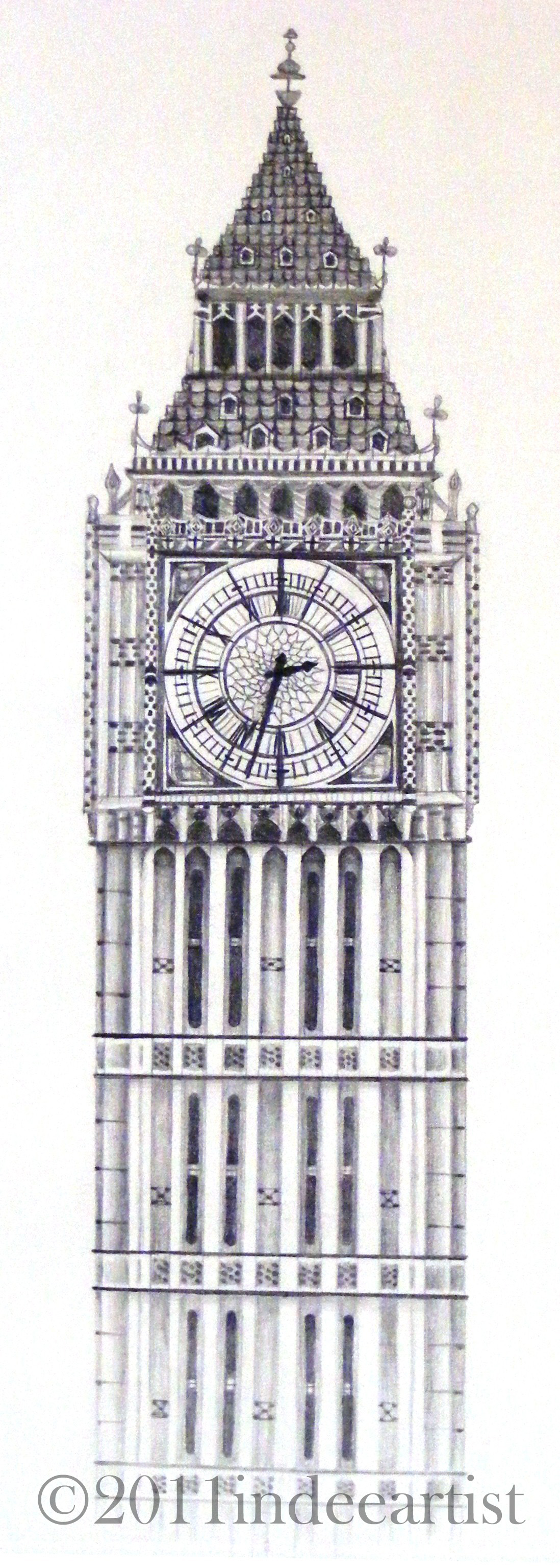 Drawn big ben vector Done Ben Red This graphite