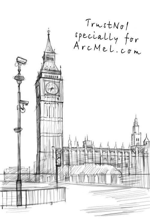 Drawn big ben clock tower 4 Drawing ideeën step Ben